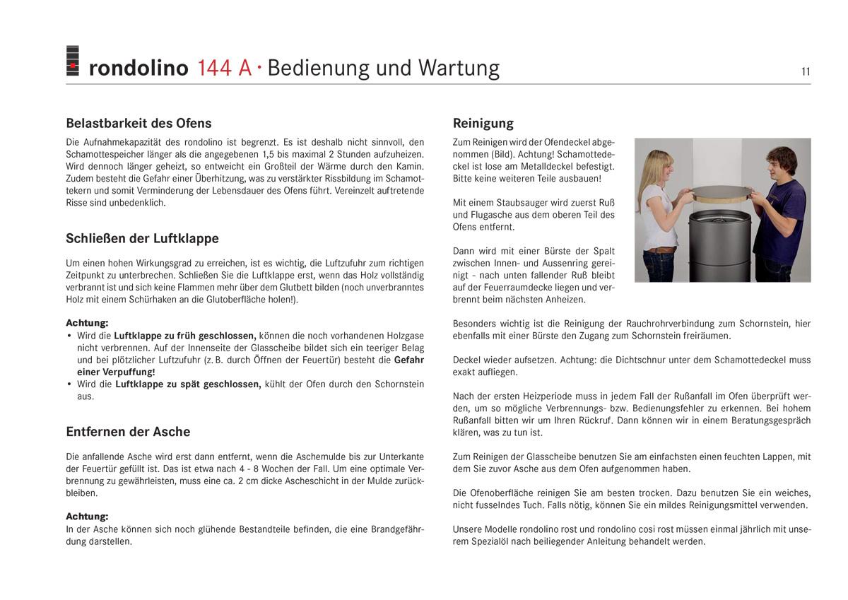 Ofenreinigung Anleitung rondolino 144A